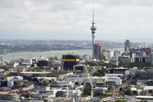 Cityscape of Auckland central, with the Sky Tower in the background.