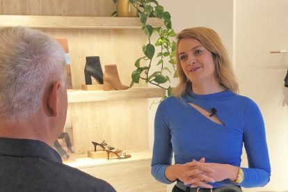 Brandice, manager of Kookai, being interviewed by Ryan Edwards, at Kookai store in Auckland.